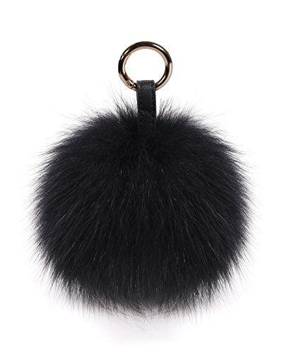 S Romza Pom Pom Keychain Fluffy Real Fox Fur Ball Keychain For