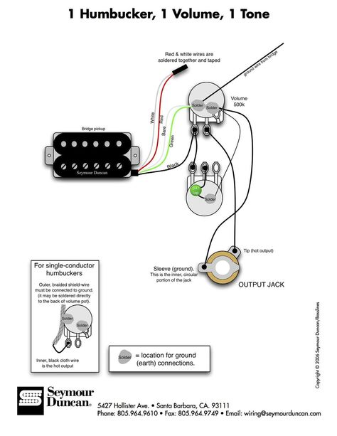 1 humbucker, 1 volume, 1 tone other stringed things in basic single humbucker wiring diagram a flexible dual humbucker wiring scheme