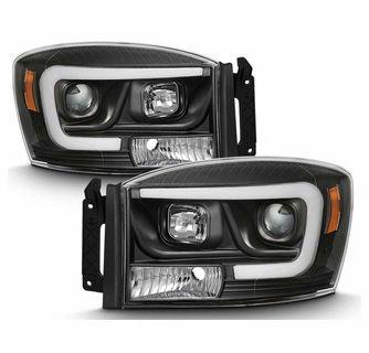 06 08 Dodge Ram 1500 3500 Led Tube Projector Headlights Black Dodge Ram Dodge Ram 1500 Dodge