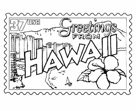 Usa Printables Hawaii Coloring Pages Hawaii State Stamp