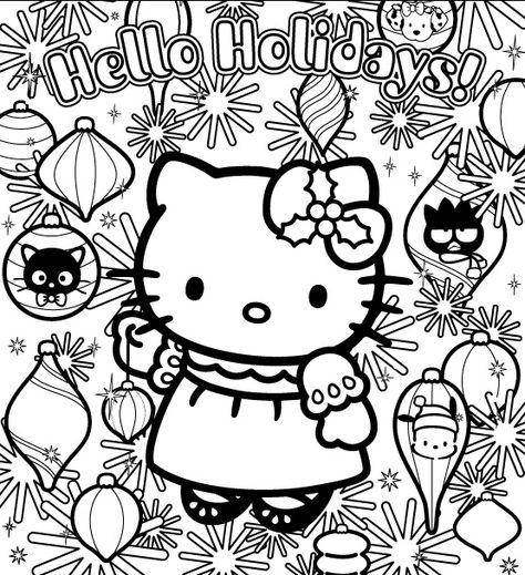 Coloriage Hello Kitty Et Les Decorations De Noel Coloriages