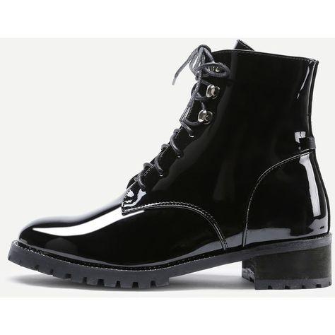 4d0c95cb3b42f SheIn(sheinside) Lace Up Patent Leather Ankle Boots ($39) ❤ liked on  Polyvore featuring shoes, boots, ankle booties, black, black lace up booties,  lace up ...