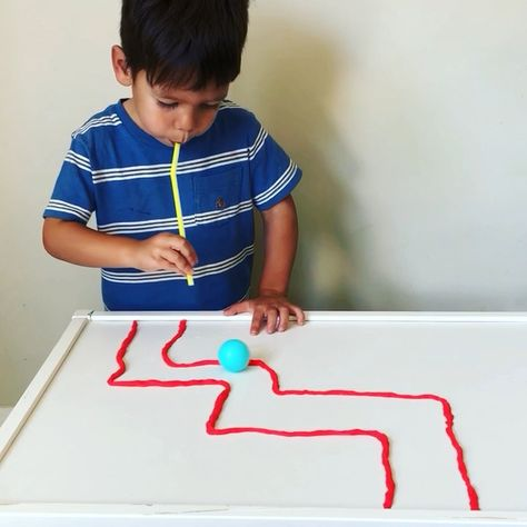 Ping Pong Playdough Straw Maze * ages 2