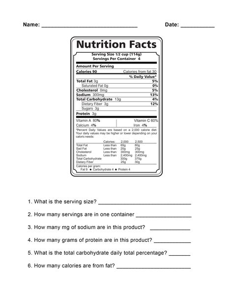 Food Label Worksheets With Images Nutrition Labels Nutrition