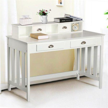 Yaheetech Writing Desk Home Office Computer Desk Wood Organizer 4 Drawers White Walmart Com Home Office Computer Desk Office Computer Desk Home Office Furniture