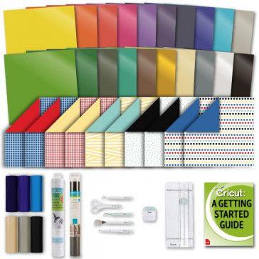 Cricut Machine Beginner Sampler Bundle Everyday Iron On Premium Vinyl Deluxe Paper Pack And Essential Tool Kit In 2020 Cricut Iron On Vinyl Cricut Paper Pack