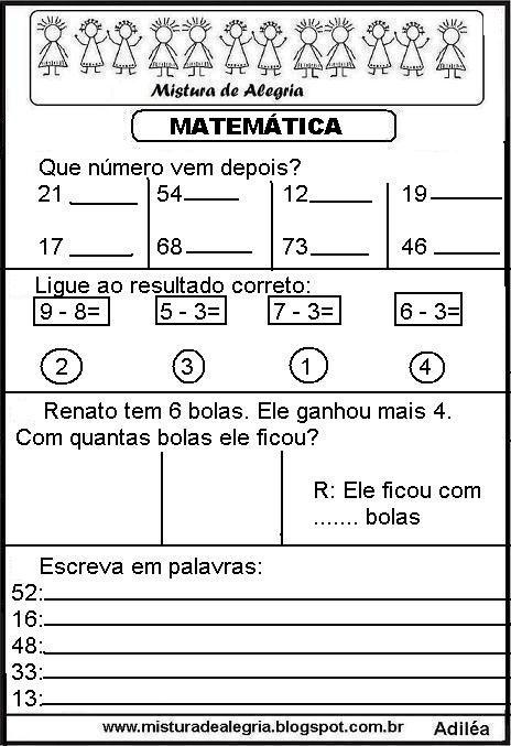 20 Atividades De Matematica Ensino Fundamental Para Imprimir Em