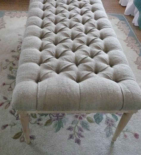 FURNITURE INSPIRATION :: Oh such a gorgeous burlap tufted bench!!! | #brookegiannetti