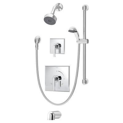 Symmons Duro 2 Handle Tub And Shower Faucet System With Single Mode Hand Spray In Chrome 3606 H321 V At The Home Depot Shower Panels Shower Tub Shower Systems