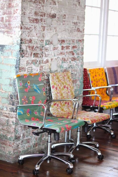 possible DIY project? upholstered floral office chairs! #office