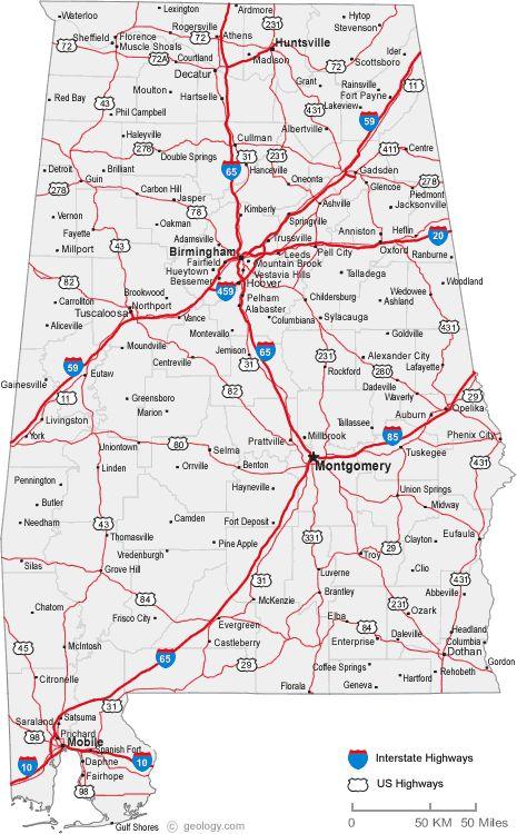 Map Of Alabama Cities Alabama Road Map Map Alabama Roadmap