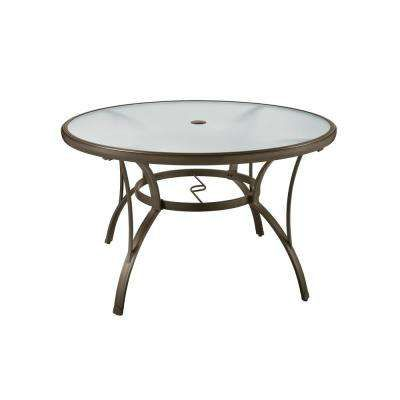 Commercial Grade Aluminum Brown Round Outdoor Dining Table Patio