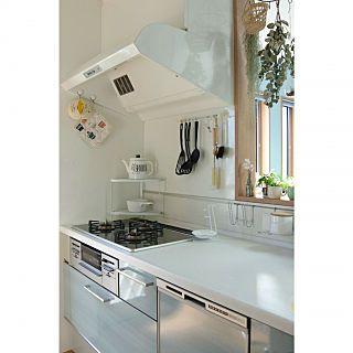 キッチン 大掃除 カームブルー サイクロンフード 白い換気扇 などの