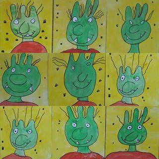 Weiter Geht S Mit Den Schulerarbeiten Zum Thema Wir Malen Einen Olchi Die Bilder Haben Auch Die Kunstunterricht Kunst Grundschule Kunststunden