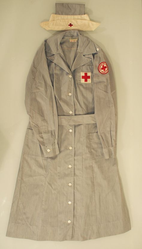 Full 1940s Red Cross Nurse's Uniform.
