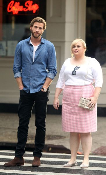 Liam Hemsworth and Rebel Wilson film 'Isn't It Romantic' on July 24, 2017.
