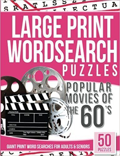 photograph regarding Free Printable Extra Large Print Word Search titled Huge Print Wordsearches Puzzles Outstanding Flicks of the 60s
