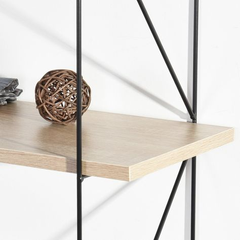 Wall-mounted storage shelf with 3 levels in light wood effect and black - TERZO