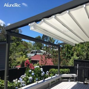 Outdoor Wind Resistance Waterproof Aluminium Pvc Retractable Awning Roof With Led Buy Pvc Pergola Retractable Per Modern Gazebo Garden Awning Pergola Canopy