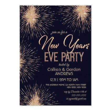 Chic Navy Blue Gold Glitter Sparkler New Years Eve Invitation Zazzle Com In 2020 New Years Eve Invitations New Years Eve Sparklers