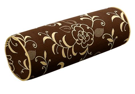 love this! brown and beige are luxurious comfort: custom bolster pillow from CushionSource.com: featuring Sunbrella Gibson - Chocolate fabric with Sunbrella Wheat fabric cording