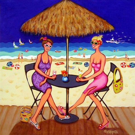 Image result for pinterest cartoon women at the beach