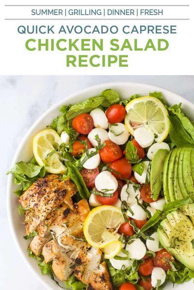 15 Minute Avocado Caprese Chicken Salad Recipe Healthy Dinner Idea Recipe Salad Recipes Healthy Dinner Caprese Chicken Healthy Chicken Salad Recipe