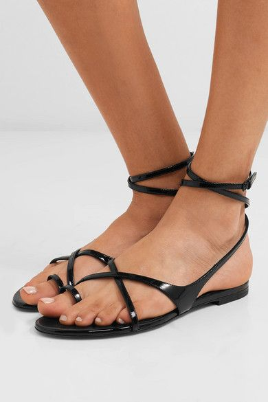 c337612ff1886 SAINT LAURENT - Gia patent-leather sandals in 2019 | Shoes | Leather ...