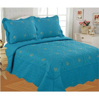 Diana by Glory Home Design 3 Piece Embroidery Quilted Bedspread Set