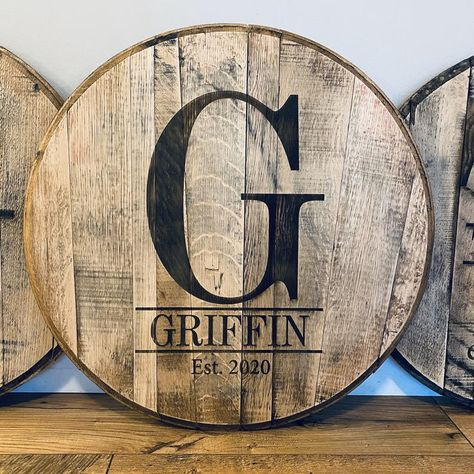 Bourbon Barrel Table, Barrel Coffee Table, Local Hardware Store, Nursery Signs, Best Christmas Gifts, Christmas Wedding, Monogram Initials, Wedding Guest Book