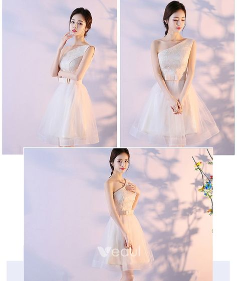 b40bedf85 Affordable Champagne Bridesmaid Dresses 2018 A-Line / Princess Sleeveless  Bow Sash Short Ruffle Backless Wedding Party Dresses