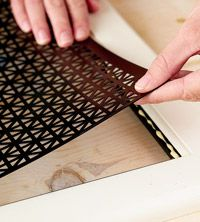 Love this idea of putting radiator screens on cabinet doors...awesome random use! :)