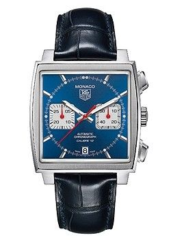 TAG Heuer Monaco Calibre 12 Gents Watch £4450, In Sock, Blue Batons Dial, Stainless Steel Case, Blue Leather Strap, Automatic Movement, Water Resistant up to 30 Metres, Model: CAW2111.FC6183 | Cheeky Wish List | Wedding and Birthday Gift Ideas for Men and Women