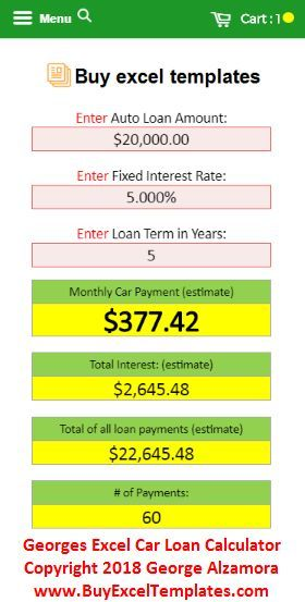 Online Auto Loan Monthly Payment Calculator Spreadsheet Monthly