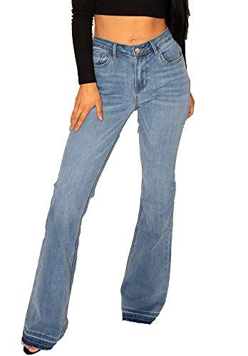 New Womens Ladies Blue Faded Mid Rise Stretch Denim Flared Bootcut Jeans