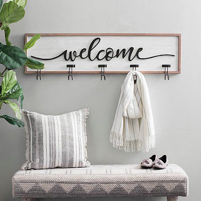 White And Black Welcome Wall Hooks In 2020 Entryway Wall Decor Decor Wall Hooks