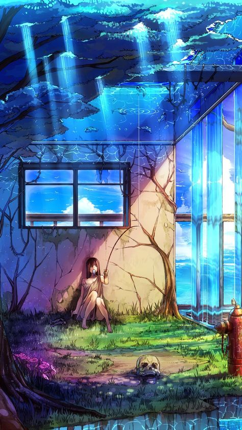 Fishing house blue anime wallpaper. Art, anime, fishing, sea, roof, blue, iPhone, Android, wallpaper, backgrounds sazum 2017.