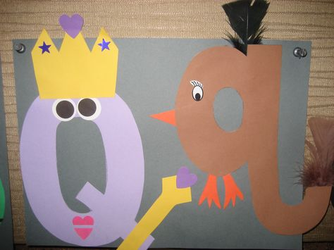"""""""Qq"""" Letter of the week art project: queen & quail"""