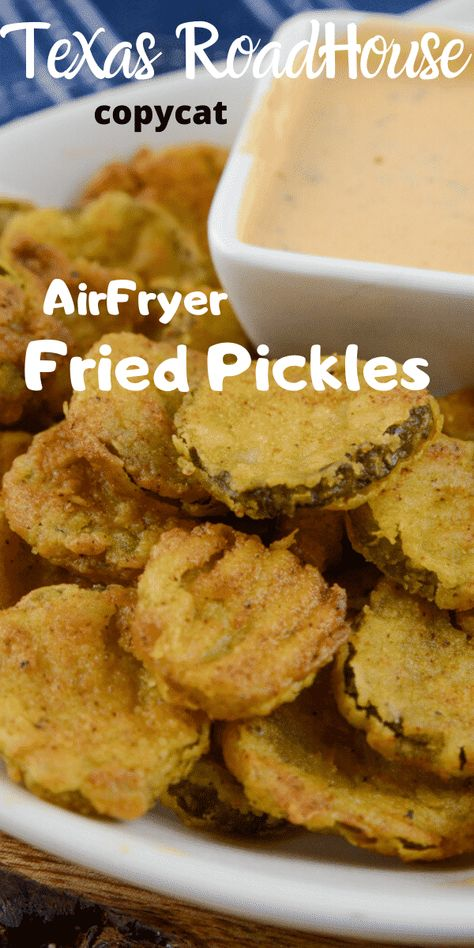 Air Fryer Fried Pickles Texas Road House Copy Cat Air Fryer Fried Pickles are one of my favorites! This is a Texas Road House Copycat Fried Pickle recipe. To make it even better it is made right in the air fryer. Air Fryer Oven Recipes, Air Frier Recipes, Air Fryer Dinner Recipes, Recipes Dinner, Air Fryer Recipes Appetizers, Air Fryer Recipes Pickles, Air Fryer Recipes Gluten Free, Deep Fryer Recipes, Convection Oven Recipes