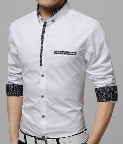 0419f6650cfd Mens Button Down Shirt with Floral Trim. January 2019. Shirt men 2015 new  men Slim casual long-sleeved shirt solid ...