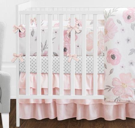 Watercolor Floral Pink And Grey Crib Bedding Set Girl Crib