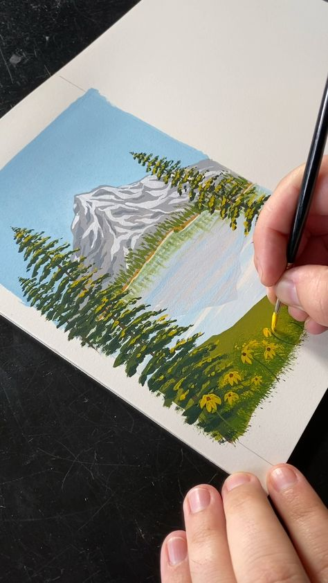 Easy (Bob Ross-like) landscape  painting with gouache by Philip Boelter. I hope these videos inspire you create your own landscape paintings and give you the motivation to paint. See more satisfying videos, merch, and artwork on my website BoelterDesignCo.com.