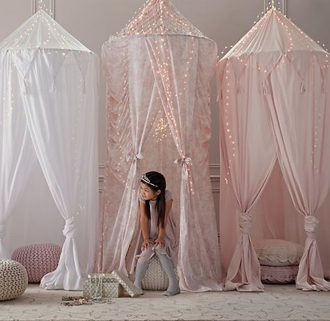 For the play room as a reading nook or private corner. Maybe put the girl's little sofa in here for private reading or snoozing. Needs twinkle lights too. - Restoration Hardware