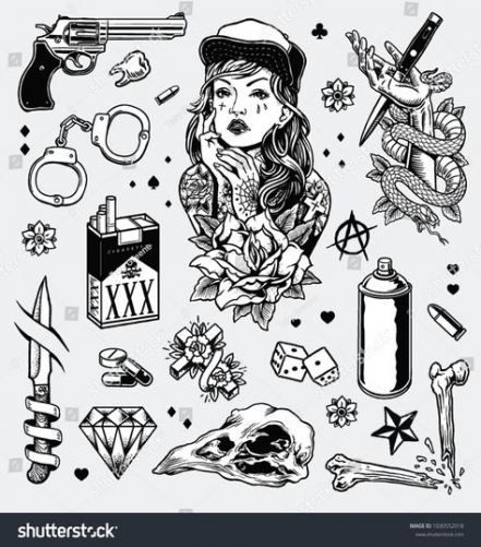 Tattoo Traditional Black And White Old School 64 Ideas Gang Tattoos Gangster Tattoos Black White Tattoos
