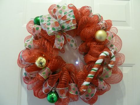 Deco Mesh Christmas Wreath by CreativeDesignsbyJ on Etsy