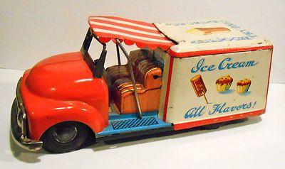 Vintage Tin Friction Ice Cream Truck Japan