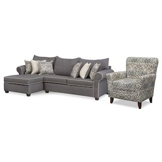 Carla 2 Piece Sectional And Accent Chair Set Gray Furniture