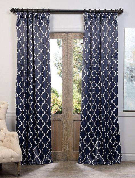 Seville Navy Blackout Room Darkening Curtain And Drapes Cool Curtains Navy Blackout Curtains Navy Blue Curtains