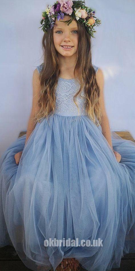 Cap Sleeve A-Line Tulle Flower Girl Dresses, Popular Lace Little Girl Dresses, FC1797
