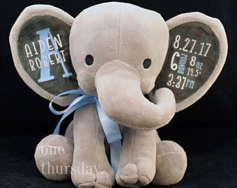 Birth Announcement Stuffed Animal Personalized Elephant Baby Boy